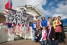 The Works Hair Salon on Williamson Ave, Grey Lynn,  has dolled up its premises in support of Samoa for the Rugby World Cup.  They even managed to get one of the Manu Samoa players, Tasesa Lavea (centre in blue). Photo / Natalie Slade