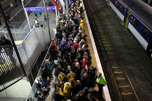 People queuing for trains at Kingsland station after the opening match of the 2011 Rugby World Cup tonight. Photo / Sarah Ivey