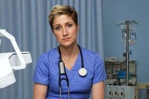 Edie Falco as Nurse Jackie who is up for best actress in a comedy. Photo / Supplied