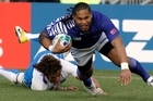 Alesana Tuilagi's hat-trick against Namibia on Wednesday makes him the principal weapon in Samoa's arsenal when they face arch-rivals Wales tomorrow. Photo / Stephen Parker