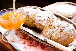 Grapefruit marmalade with orange wholemeal scones. Photo / Babiche Martens