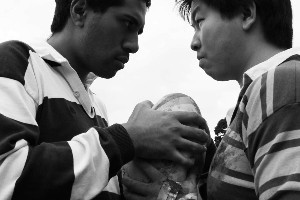 From left Paul Fagamalo and Benjamin Teh in 'The First Asian AB'. Photo / Supplied
