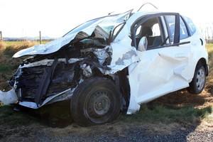 The scene of the car crash north of Oamaru that killed Allan Hubbard two weeks ago. Photo / Dan Tasker