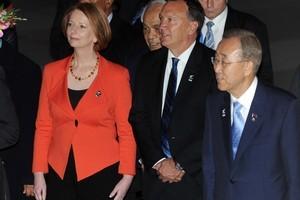 Australian Prime Minister Julia Gillard with UN Secretary General Ban Ki-Moon at the Pacific Forum last week. Photo / APN