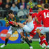 Shane Williams of Wales is upended by Jacque Fourie of South Africa. Photo / Getty Images