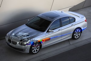 BMW's 15kg Turbosteamer system recovers exhaust heat and uses it to create steam to power an expansion turbine that generates electrical energy. Photo / Supplied