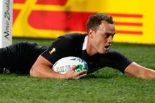 Israel Dagg scores a try in the opening Rugby World Cup match against Tonga. Photo / Brett Phibbs