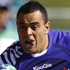 Samoa's Kahn Fotuali'i runs down the field past a Namibian defender during their Rugby World Cup game in Rotorua. Photo / AP