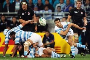 Nicolas Vergallo of Argentina dispatches the ball. Photo / Getty Images