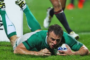 Tommy Bowe of Ireland goes over to score in in side's pool C match against USA. Photo / Getty Images