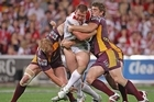 Trent Merrin of the Dragons takes on the defence. Photo / Getty Images