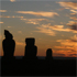 Moai at sunset on Easter Island. Photo / Anna Leask