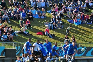 Rotorua spectators watch the action during the Fiji and Namibia clash. Photo / Getty Images
