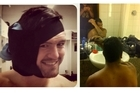Adam Ashley-Cooper (left) with an ice-pack strapped to his ear, and Kurtly Beale cutting his hair. Photos / Twitter