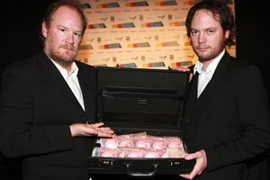 Ant Timpson (left) and Hugh Sundae launch Make My Movie. Photo / Norrie Montgomery.