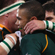 John Smit and Morne Steyn of South Africa congratulate Bryan Habana of South Africa on his try. Photo / Getty Images