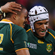 Juan de Jongh of South Africa celebrates scoring their tenth try with Gio Aplon. Photo / Getty Images