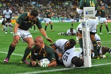 Springbok prop Gurthro Steenkamp (scoring the try) is not taking tonight's clash with Namibia at North Harbour Stadium lightly saying the northern neighbours will be treating it as their Cup Photo / Getty Images