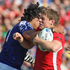 Maurie Faasavalu of Samoa high tackles Rhys Priestland of Wales. Photo / Getty Images