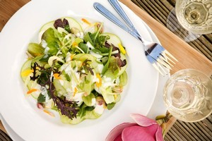 Apple, pistachio, fennel and grape with lime sour cream dressing. Photo / Babiche Martens