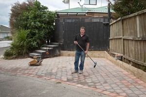 An extra parking area is a bonus when it comes to hosting friends during the World Cup. Pavers are easy to lay, it's just a matter of getting the ground preparation right. Photo / Michelle Hyslop