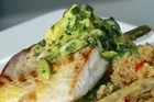 Pan-fried snapper with a green herb salsa on fennel & chilli quinoa salad. Photo / Supplied