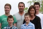 Tracy and Mike Church with sons Liam (16), Hayden (13), Ryan (11) and Cameron (9). Photo / Supplied