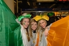Caitlyn De Charmoy, Emma Hickey and Victoria Wallace were ready to join the celebrations last night. Photo / Michael Craig
