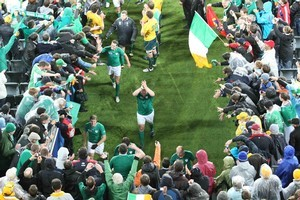 Ireland wave to fans after winning their match against Australia. Photo / Greg Bowker