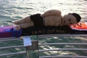 Dan Carter, star attraction of an outside show of knitted creations, is missing. Photo / Supplied