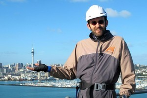 Andy Kenworthy is keen to hold onto the experience at the top of the Harbour Bridge. Photo / Supplied