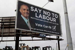 Matthew Ridge says the billboard is tongue-in-cheek but he wouldn't vote for Labour anyway. Photo / Brett Phibbs