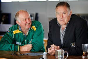 Nico Theunissen has a chat with Sir Colin Meads at the Waitete Rugby Club in Te Kuiti. Photo / Christine Cornege