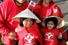 Tonga fans Jacob and Lavina Pohiva with their children JJ and Paula. Photo / Dean Purcell
