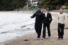 The French coaching staff - backs coach Emile Ntamack, Julien Deloire (trainer) and Vincent Krescher (video analyst) enjoy a walk along Takapuna Beach. Photo / Sarah Ivey