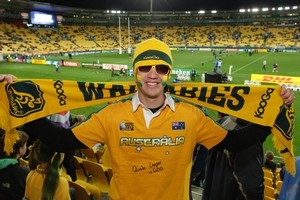 Weekend Herald reporter Derek Cheng decked himself out in Australian gear to see what reactions he could provoke. Photo / Mark Mitchell