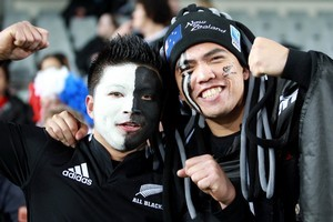 Fans were out in force for the All Blacks - France game in Auckland. Photo / Janna Dixon