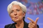 International Monetary Fund (IMF) Managing Director Christine Lagarde gestures during a news conference at the IMF in Washington, yesterday. Photo / AP 