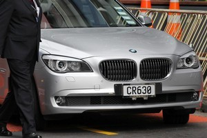 One of the Crowns new BMW's outside the SkyCity Grand. A complaint from the PM's office to the BSA over a TVNZ piece on the new cars has been thrown out. Photo / Greg Bowker