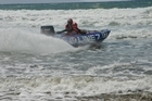 One man had to be rescued after his Thundercat - like the one pictured - was overcome by heavy seas off the West Coast. Photo / file