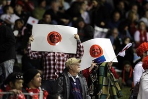 Japan rugby fans at match between Tonga and Japan played at the Northland Events Centre. Photo / Dean Purcell