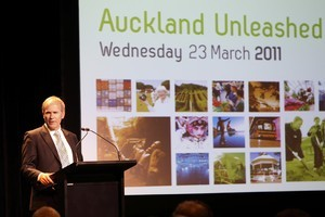 Mayor Len Brown speaking at Auckland Unleashed, the first stage of the Auckland Plan. Photo / The Aucklander