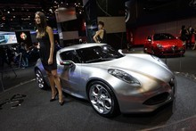 Alfa Romeo's 4C Concept's Fluid Metal paint scheme is unveiled at Frankfurt. Photo / Supplied