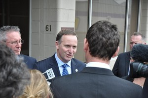 Prime Minister John Key met with Pike River families in Greymouth this afternoon. Photo / APN