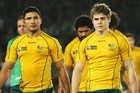 Anthony Fainga'a and James O'Connor walk off the ground after Australia's loss to Ireland. Photo / Getty Images