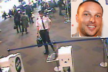 A security camera image shows the wanted man - wearing his pilot's uniform - in the Auckland Airport domestic terminal. Photo / NZ Police