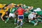 Bryce Lawrence calls a scrum in the Rugby World Cup clash between Ireland and Australia. Photo / Greg Bowker