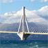 The ancient meets the modern in contemporary Corinth - the beautiful and high-tech Charilaos Trikoupis Bridge. Photo / Jim Eagles