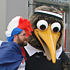 A French fan poses with a mascot. Photo / Edward Golausee