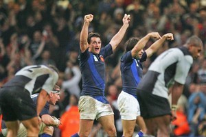 France celebrate their famous 2007 victory against the All Blacks. Photo / Getty Images